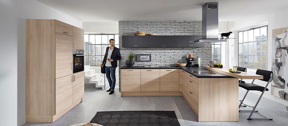 edle einbauk che mit aufgesetzter esstheke haus der k chen. Black Bedroom Furniture Sets. Home Design Ideas